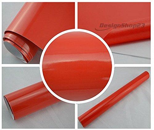 5,70€/m² Auto Folie - rot glanz glänzend - 0,3 meter x 1,5 meter selbstklebend BLASENFREI flexibel Car Wrapping Klebefolie folieren