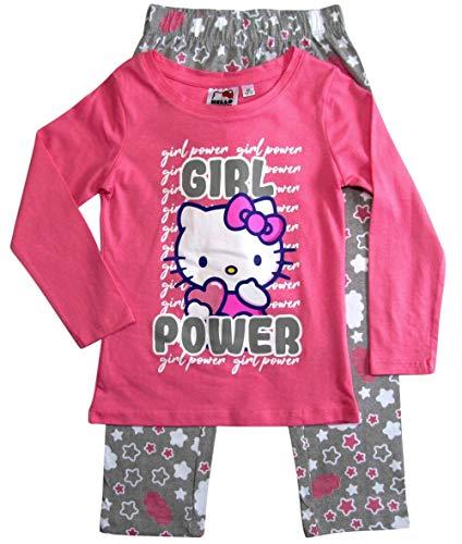 Hello Kitty Schlafanzug Mädchen Pyjama Lang (Fuchsia-Grau, 104)
