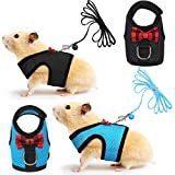 SATINIOR 2 Pieces Soft Small Pet Harness Pet Walking Vest with Bowknot Bell Breathable Puppy Harness Nylon Pet Leash Vest Set for Bunny, Ferret, Rats, Iguana, Hamster (S, Blue, Black)