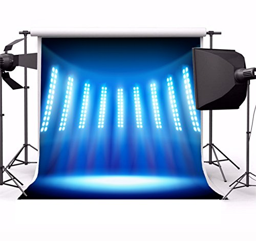 Laeacco Vinyl 5x5ft Photography Background Stadium Empty Stage Television Studio Blue Lights Spotlight Shiny Show Performance Decorations Party Children Portraits Shooting Video Studio Prop