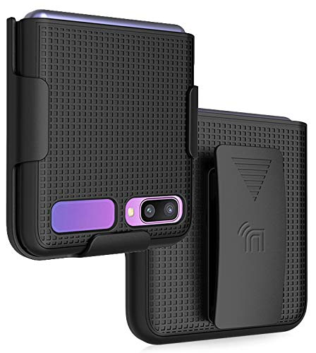 Case with Clip for Galaxy Z Flip, Nakedcellphone [Black] Snap-On Cover with [Rotating/Ratchet] Belt Hip Holster Holder Combo for Samsung Galaxy Z Flip 5G Phone (SM-F700, SM-F707) 2020