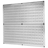 Pegboard Rack Wall Control Garage Storage Galvanized Steel Horizontal Pegboard Pack - Two 32-Inch x 16-Inch Shiny Metallic Metal Peg Board Tool Organization Panels