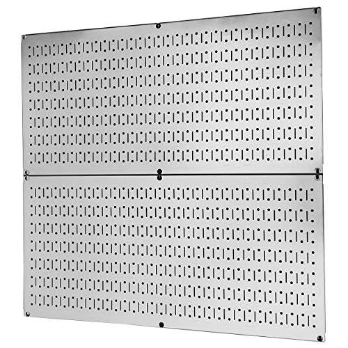 Pegboard Rack Wall Control Garage Storage Galvanized Steel Horizontal Pegboard Pack - Two 32-Inch x 16-Inch Shiny Metallic Metal Peg Board Tool Organization Panels