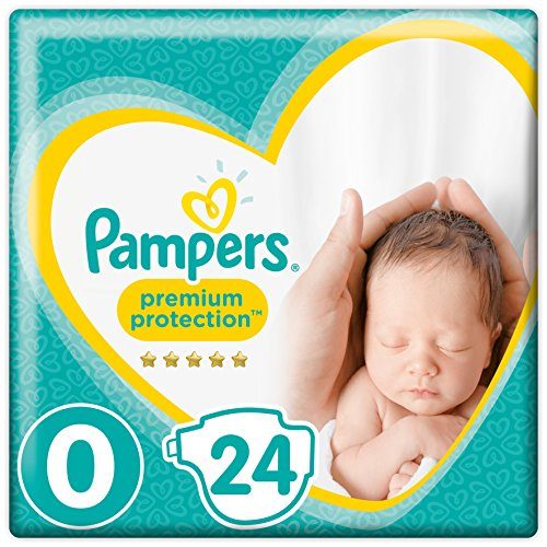 Pampers Premium Protection Baby Pañales (talla 0, 1,5-2,5 kg, 1 paquete de 24 unidades)