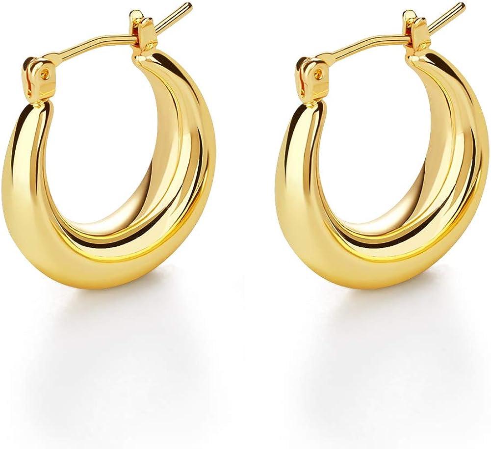 14k Gold Plated Lightweight Chunky Hoop Earrings, Minimalist Dai