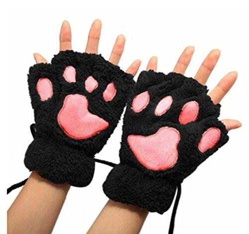 Demarkt Niedlich Katze Klaue Bär Pfote Plüsch Fingerlose Handschuhe Winter Halbfingerhandschuhe für Damen Mädchen ein Paar (Schwarz)