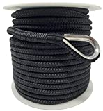 Rainier Supply Co Double Braided Nylon 1/2' Anchor Rope - Available in 100' - 300' Lengths - Anchor Line/Boat Anchor Rope with 316SS Thimble