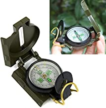 YYGIFT Functional Military Marching Army Hiking Compass Outdoor Camping Hiking Lensatic Compass with Luminous Display