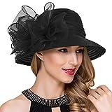 Lady Church Derby Dress Cloche Hat Fascinator Floral Tea Party Wedding Bucket Hat S051 (Black)