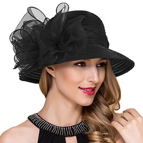 Ruphedy Damen Ascot Derby Kirche Sonnenhut Britische Hochzeit Tee Party Hüte S051 (Schwarz)