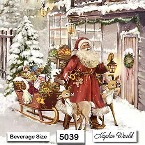 (5039) Two Individual Paper Beverage Decoupage Napkins - Christmas Santa Sleigh