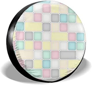 ENEVOTX Abstract Pastels Square Grid Mosaic Funny Tire Cover Cool Tire Covers Tire Cover Waterproof Uv Sun 14 - 17 Fit for Jeep Trailer Rv SUV and Many Vehicle