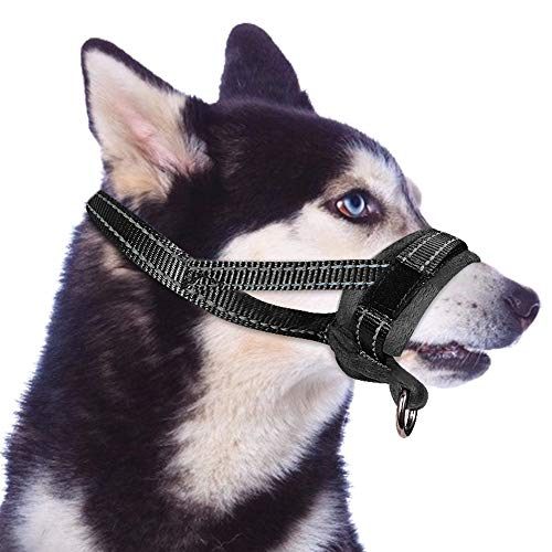 Slowton Nylon Dog Muzzle, Dog Mouth Cover Adjustable Soft Padding Quick Fit Comfortable Muzzles for Medium Large Dog Outdoor Anti Biting Behavior Training Stop Chewing Barking Attach to Collar(Medium)