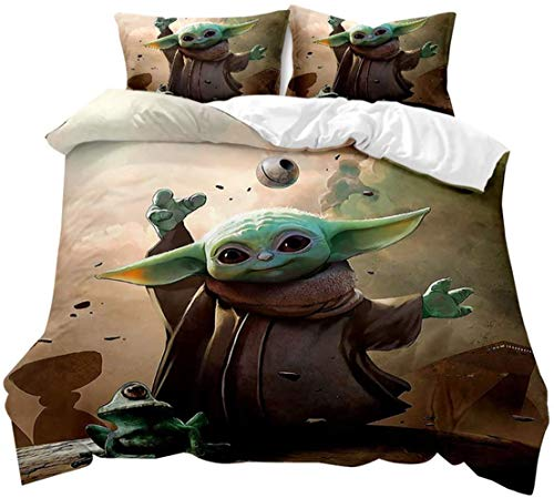 Star Wars Duvet Cover Children's Bedding Set with Zip Includes Duvet Cover and Pillowcase (A1.155 x 220 cm)