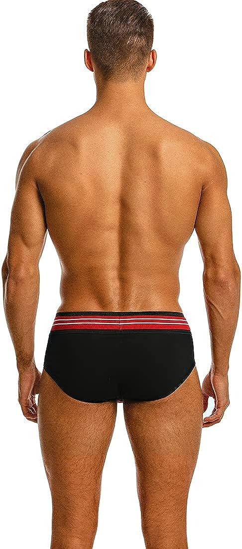BSHETR Men's Underwear Briefs 5 Pack Cotton Moisture Wicking Contrast Color Low Waist Underpants
