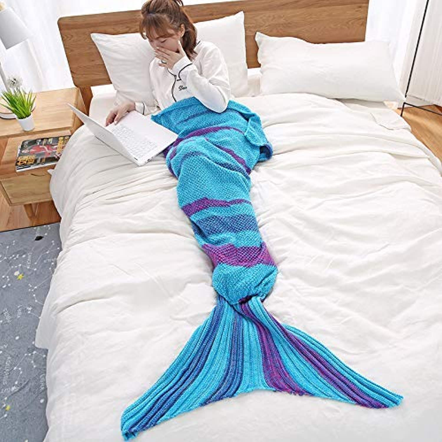 JINGB Home Mermaid Knit Mermaid Tail Knit Napping Air Conditioning, Lake bluee, 140  70CM 370G (55  27.5 inch) (color   Lake bluee, Size   190  90CM 570G)