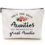 Only The Best Aunties Get Promoted to Great Auntie-Funny Aunt gifts,Auntie gifts from Niece,Nephew,Best Aunt Gifts,Makeup Bag, Make Up Pouch,Unicorn , Funny Handle Bag,🏆 Prize for Aunt