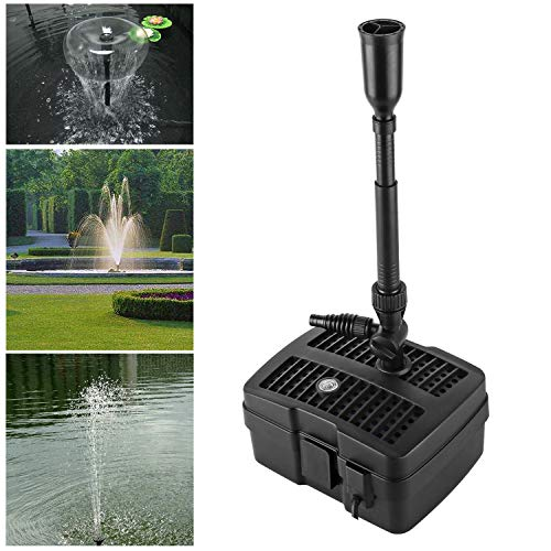 Forever Speed 4 in 1 Teichpumpe Springbrunnenpumpe mit Filter, 5W/9W/11W UV-Klärer, 1000l/h-2500l/h, mit 10m Stromkabel für Garten- und Springbrunnengestaltung (5W 1000l/h)