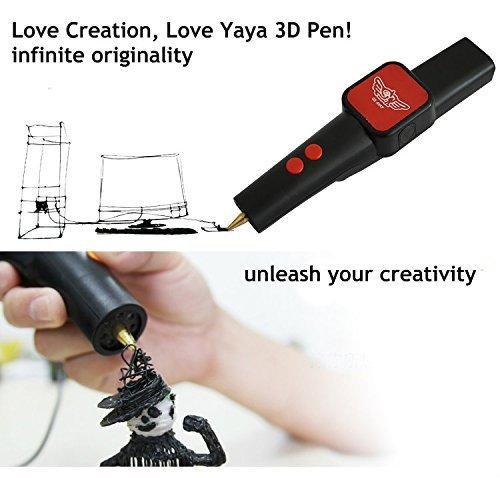Mcoplus - Penna 3D -3DYAYA NUOVO MODELLO: La penna che disegna in 3D - Pacchetto base: 3D penna stampa V1.5 + due filamenti (bianco e nero, 2,2 once ABS 1,75 millimetri) - GARANZIA ITALIA 2 ANNI - Con l'adattatore di alimentazione italiana