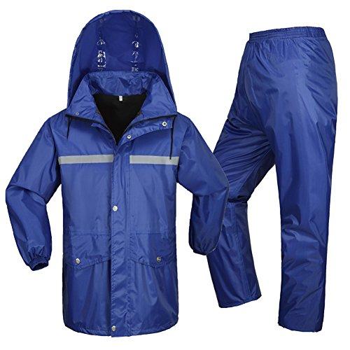 Outdoor Peak Pluie Poncho Veste Pantalon Moto imperméable Ensemble pêche Cyclisme Pluie pour Hommes Femmes (Bleu 1, 150cm - 155cm 40kg - 50kg)