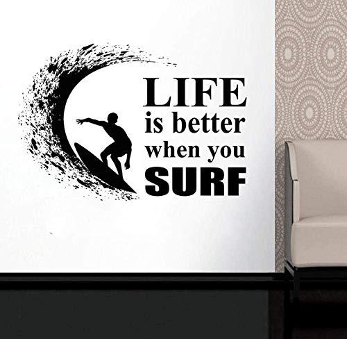 Tabla De Surf Simple Wave Ocean Vinilo Calcomanías De Pared Pegatina Deportes Papel Tapiz Impermeable Para Bddroom 81 * 57Cm