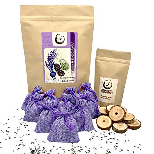 Quality King 10 Lavendelsäckchen und 10 Zirbelholzringe, Lavendelsäckchen-Mottenschutz, Lavendelsäckchen-Spinnen, Lavendelsäckchen-Motten, Lavendelsäckchen Stoff, Lavendelsäckchen-Duft-Schlaf
