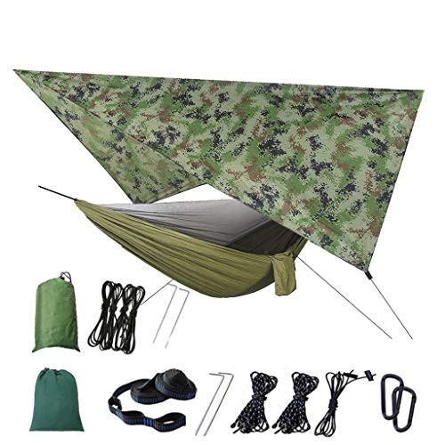 LootenKun Hamac avec Moustiquaire Toile De Parachute Tente Étanche pour Jardin Extérieur Voyage Camping Pliable Portable Kit Fixation Hamac avec Voile D'Ombrage