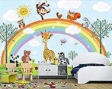 Fotomurales Mural 3D Dibujado A Mano Dibujos Animados Animales Arco Iris Niños Habitación Fondo Pared Muebles Decoración Papel Tapiz Seda 350X256Cm