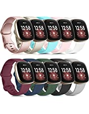 Tobfit Sport Bands Compatible with Fitbit Versa 3 Bands / Fitbit Sense Bands, Classic Soft Silicone Replacement Wristbands for Fitbit Versa 3 Smart Watch Women Men (006, Black, Gray, White, Large)