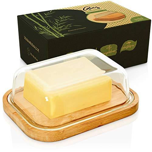 bambuswald© Butterdose mit Deckel aus Glas | passend für 250g Butter-Packung - ca 17x12x5cm - hochwertige & luftdichte Butterbox