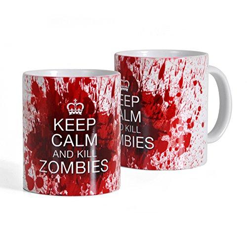 Elbenwald Tasse Keep Calm and Kill Zombies Rundumdruck mit Blutspritzern für The Walking Dead und Zombie Fans 320 ml Keramik weiß
