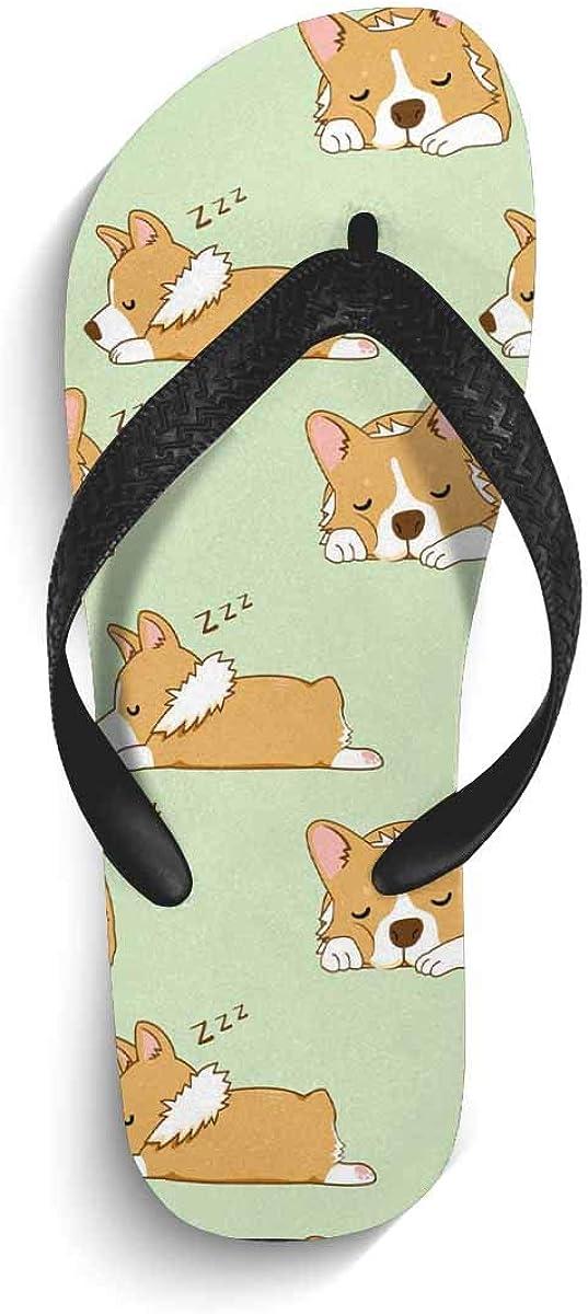 InterestPrint Non-Slip Flip Flop Slippers Paradise Black Straps Slim Thong Sandal for Men