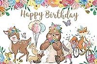 新しい女の子の誕生日パーティーの背景ウッドランドクマの友達の願い写真の背景7x5ftサファリのテーマ第1誕生日パーティーの装飾幼稚園活動写真ブース小道具