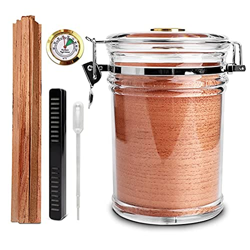 MUXIANG Acrylic Humidor Jar + 27 Packs Cigar Reserve Cedar Spills,Cigar Case Humidor with Humidifier and Hygrometer,Can Hold 18-20 Cigars CG0025
