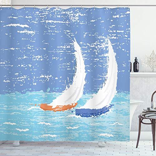 ABAKUHAUS Nautico Tenda da Doccia, Grunge Barche a Vela Ocean, Tessuto Set di Decorazioni per Il Bagno con Ganci, 175 x 180 cm, Blu Pallido