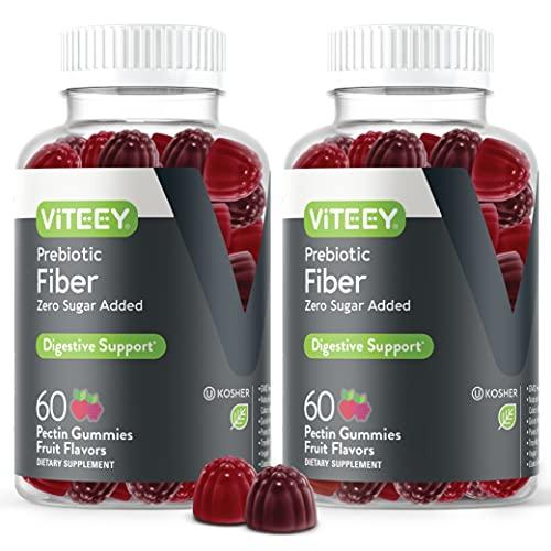 Fiber Prebiotic [Zero Sugar Added] Gummies - Digestive Heath Regularity Support, Natural Weight Support, Vegan Dietary Supplement, Good for Adults Teens & Kids - Fruit Flavored Pectin Gummy