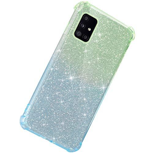 Herbests Kompatibel mit Samsung Galaxy A51 5G Hülle Durchsichtig Farbverlauf Glänzend Kristall Glitzer Transparent TPU Silikon Handyhülle Ultradünn Stoßfest Bumper Case Schutzhülle,Grün Blau