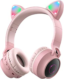 Wireless Bluetooth Kids Headphones, Aresrora Kitty Bluetooth Over Ear Headphones Volume Limiting,LED Lights, FM Radio, TF Card, Aux, Mic for iPhone/iPad/Kindle/Laptop/PC/TV (Pink)