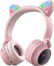Wireless Bluetooth Kids Headphones, Aresrora Kitty Bluetooth Over Ear Headphones Volume Limiting,LED Lights, FM Radio, TF ...