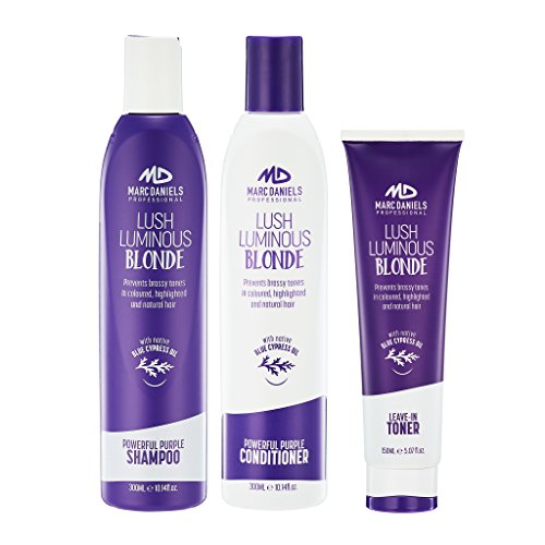 Powerful Purple Shampoo Conditioner with Leave-in Toner - Set. Tones, Prevents & Balances...