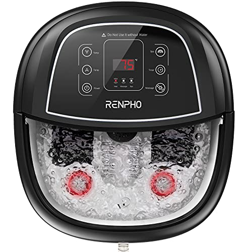 Foot Spa Bath Massager,RENPHO Motorized Foot Spa with Heat and Massage and Jets,Powerful Bubble Jets with Infrared,Shiatsu Foot Spa Massager Corn Rollers,Relieve Feet Muscle Pain