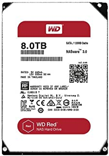 Western Digital Red 8TB NAS Hard Disk Drive, 5400 RPM Class SATA 6 Gb/s 128MB Cache 3.5 Inch WD80EFZX