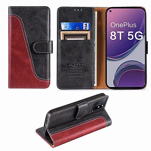 FMPCUON Handyhülle für OnePlus 8T 5G Hülle Leder,Premium Klapphülle Handytasche Flip Hülle Handy Hüllen Schutzhülle für OnePlus 8T 5G (6.55 Zoll),Rot/Schwarz