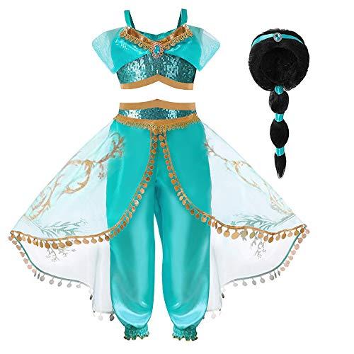 Hamanasu Costume de la Princesse Jasmine pour Les Filles Déguisement de Princesse pour la fête d'anniversaire Jeu de rôle(Perruque de Cheveux,6-7Ans/140)