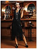 PrettyGuide Women's 1920s Flapper Dress Vintage Swing Fringed Roaring 20s Dress Black L