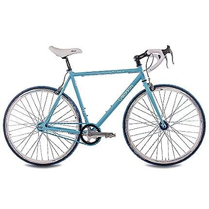 '28pulgadas Fixie CHRISSON FG Road 1.0Bicicleta de carreras Fixed Gear Single Speed Light Azul Mate, tamaño medium, tamaño de rueda 28 inches