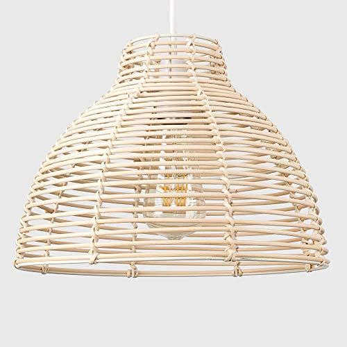 Lampenschirme Deckenlampe Lampenschirme Decken Lampenschirm Grau Lampenschirm für Leuchten Treppenkorb Weide Modern Creme Rattan Korb-Stil Deckenlampe Lampenschirm