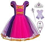 YOSICIL disfraz de rapunzel niña, Vestido Princesa Niña, Cosplay Costumbre, con 6PCS Accesorios,para Holloween Fiesta de Cosplay Boda Partido Cumpleaños Regalo Navidad 3-8 años