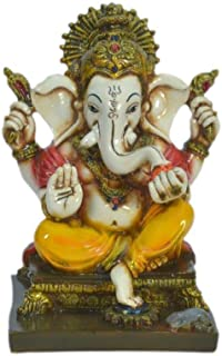 Lightahead The Blessing. A Colored Statue of Lord Ganesh Ganpati Elephant Hindu God Sitting on Seat Made from Marble Powder in India