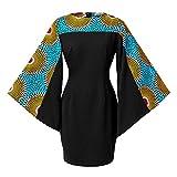 HongyuAmy Women's African Floral Print Dresses Bell Sleeve Ankara Dashiki Midi Party Dress Color E 3XL